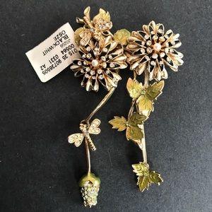 St John Enamel Floral Rhinestone Brooch Pin